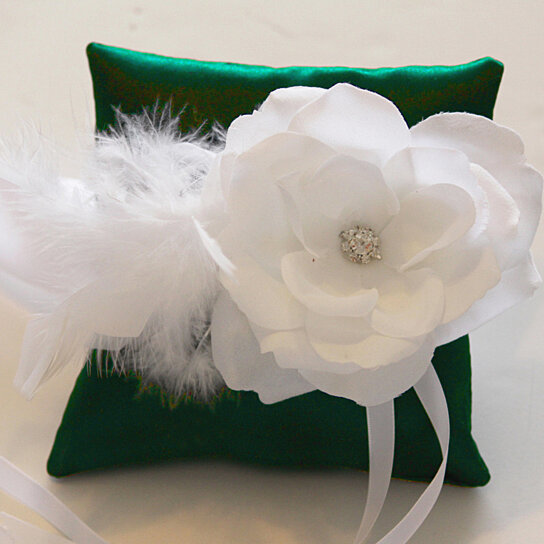 Buy dark green pillow ring for dogs white flower on dark for Dog wedding ring bearer pillow