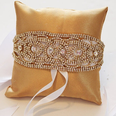 Buy gold pillow ring for dogs gold rhinestone gold pillow for Dog wedding ring bearer pillow