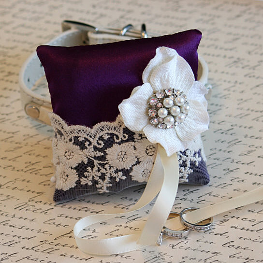 Buy purple victorian ring pillow ring pillow attach to for Dog wedding ring bearer pillow