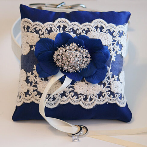 Buy royal blue ring pillow dog ring bearer pillow for Dog wedding ring bearer pillow