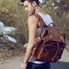 "19"" Leather Satchel Backpack"