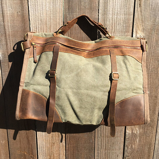 Buy Only 1 Left-Green Waxed Canvas and Brown Leather Messenger Bag ...