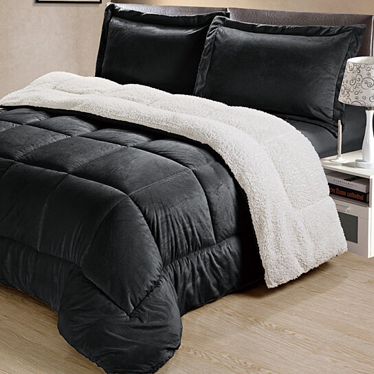 ultra piece plush mink micro beige sherpa home bedding kaiser product comforter set bath chic