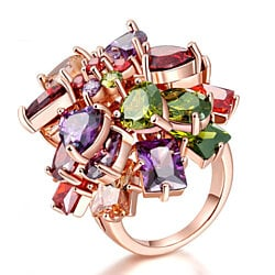 Chunky Cubic Zirconia Austrian Crystal Statement Cocktail Rings For Women