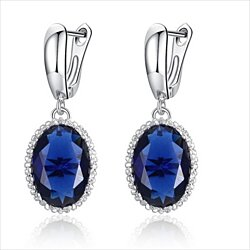Womens Cubic Zirconia Platinum Plated Drop Earrings