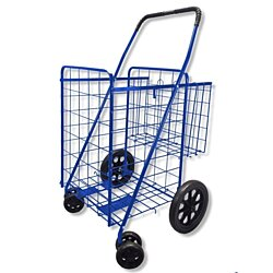 Folding Shopping Cart DOUBLE BASKET SWIVEL Wheel Jumbo 360 Easy Rotation WITH FREE LINER AND CARGO NET by SCF (BLUE WITH BLACK LINER)