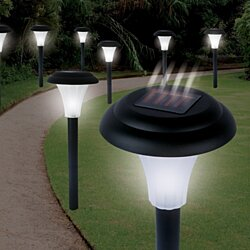 Solar-Powered LED Light Garden Lawn Set of 8 - Makes Garden Pathways & Flower Beds Look Great;  All-Weather/Water- Resistant 100%
