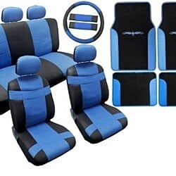 Two Tone Premium Synthetic PU Faux Leather Seat Cover Set Black and Blue with Matching Tribal Floor Mats 18pc For Nissan Altima