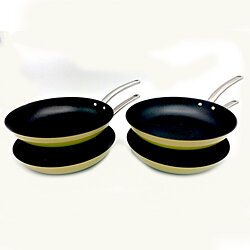Le Chef 12 Inch Enameled Coated Cast Iron Fry Pan, Palm (4 Pack).