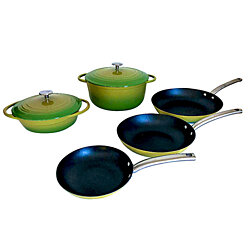 Le Chef 7 Piece Enameled Cast Iron Cookware Set, Palm.