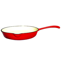 Le Chef Enamel Cast Iron Cherry Deep Skillet 10 1/4-Inch.