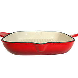Le Chef Enamel Cast Iron Cherry Square Grill Pan 12""