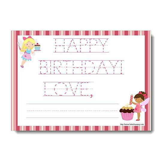 Buy Traceable Cupcake Fairy Happy Birthday Note Card 7 X 5 6