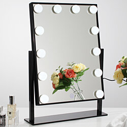 Black Hollywood Lighted Makeup Mirror Girl's Standing Vanity Mirror with Lights
