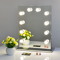 Frameless Vanity Mirror Hollywood StyleTabletop Mirror with LED Bulbs