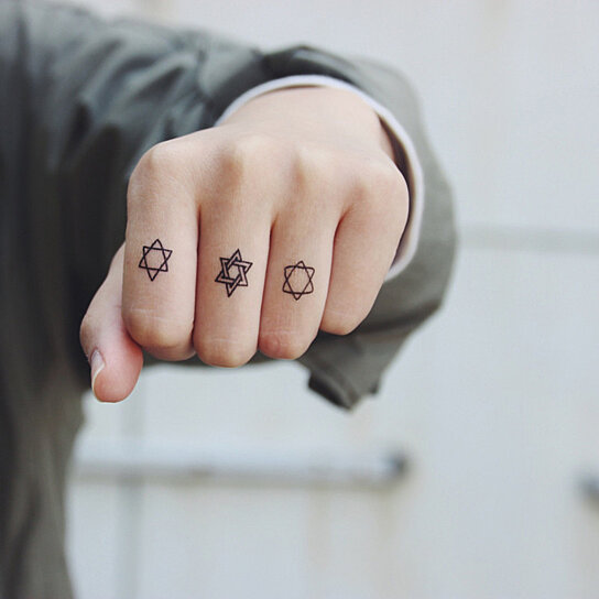 Buy waterproof temporary tattoo paste hexagram set of 3 for Wash off temporary tattoos