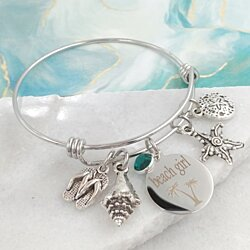 Beach Girl Bangle Bracelet with Swarovski Crystal
