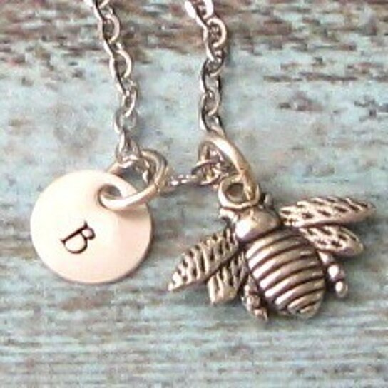 Buy Bee Hand Stamped Personalized Sterling Silver Initial