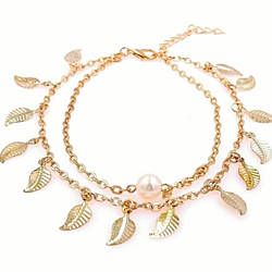 Boho Gold Leaf and Pearl Double Strand Anklet