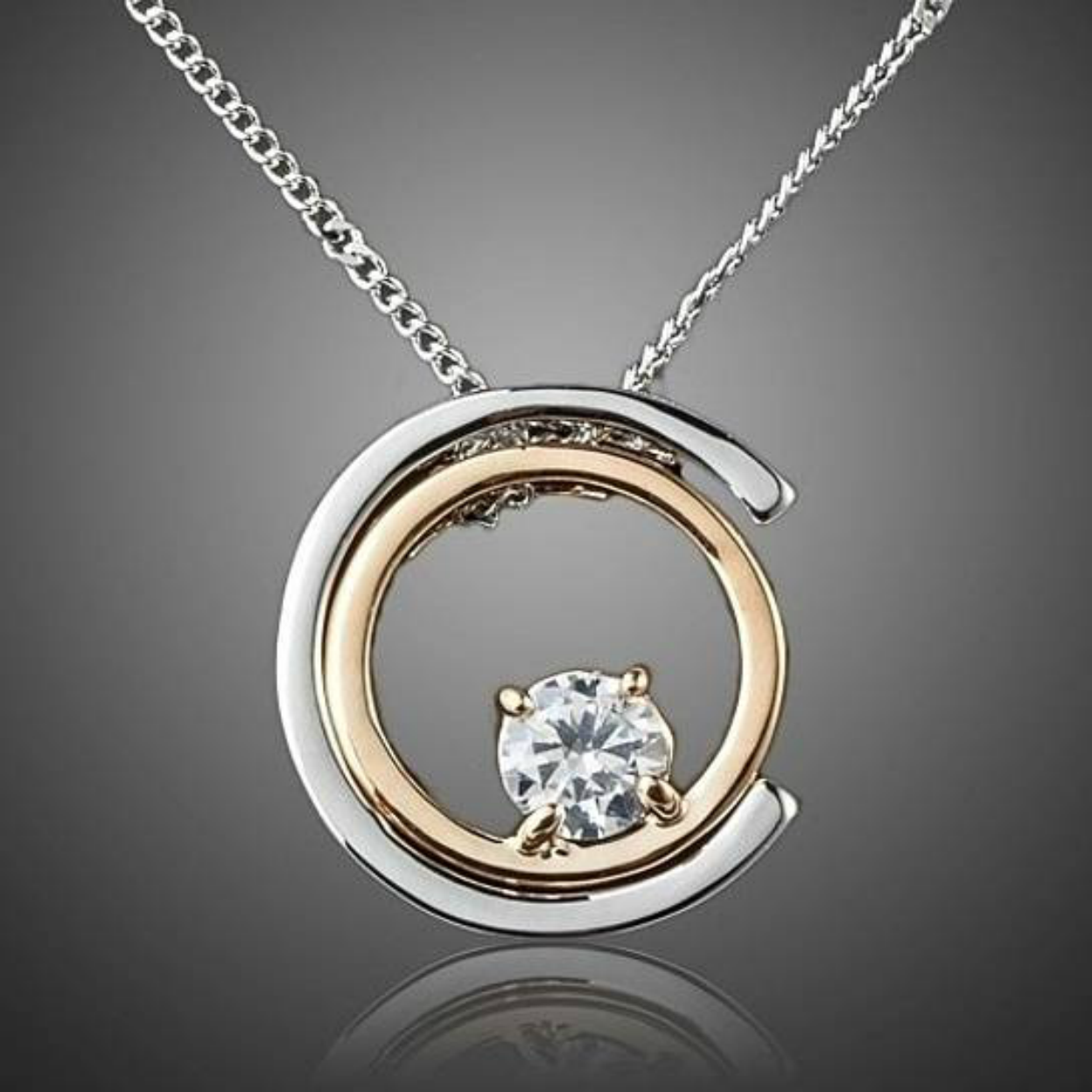 Classic White Gold and Gold Color Stellux Austrian Crystal Pendant Necklace 5967c85540f76c332d2b0c0e