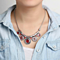 Colorful Enameled Silvertone Choker Necklace - 3 Colors to Choose From