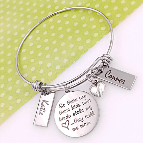 There are these Kids - Personalized Mother's Engraved Bangle Bracelet