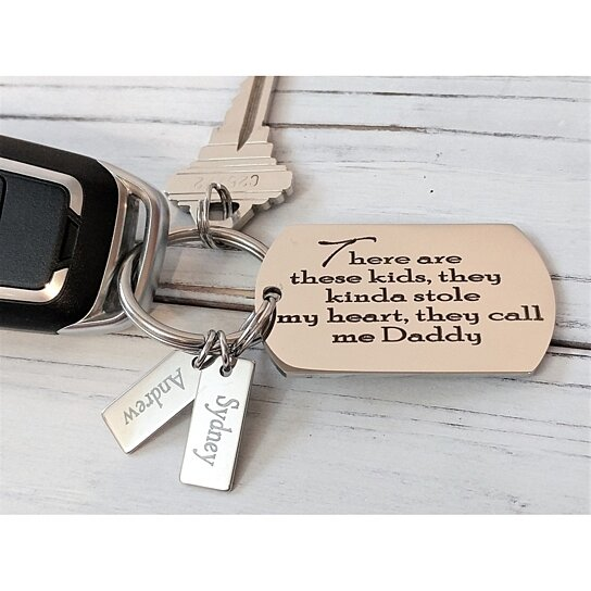Father Kids Engraved Personalized Keychain - Multiple Personalization  Options