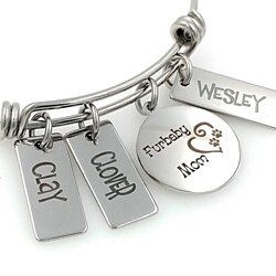 Furbaby Mom Pet Cat or Dog Engraved Expandable Personalized Bangle Bracelet