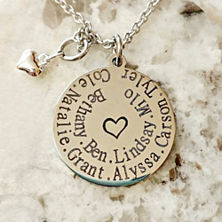 Grandma's Heart Personalized Engraved Mom, Grandmother Necklace