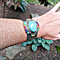 Multi-color and Faux Turquoise Two Tone Wide Cuff Bracelet