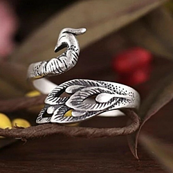 Retro Peacock Adjustable Cocktail Ring - 925 Sterling Silver