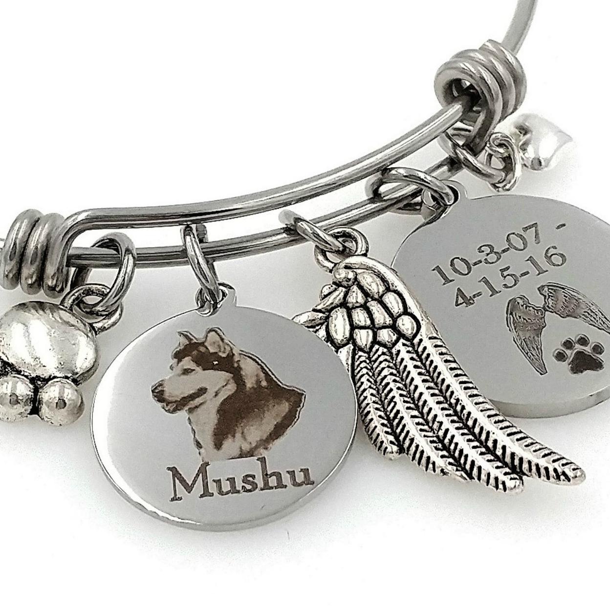 Siberian Husky, Alaskan Malamute Personalized Memorial Bracelet Or Necklace