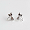 Tiny Brushed Sterling Silver and Crystal Kitty Cat Earrings