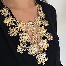 Golden Girl Flower Bib Necklace