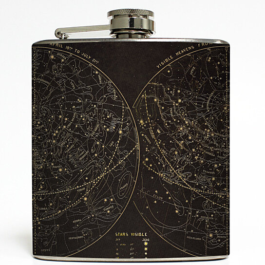 Astronomy by Cognitive Surplus - Outer Space Flask Stars Solar System  Galaxy Stainless Steel 6 oz Liquor Hip Flask LC-1498