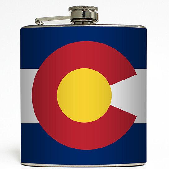 Colorado - State Flag Whiskey Flask Home State Denver Birthday Groomsmen  Gift Stainless Steel 6 oz Liquor Hip Flask LC-1579