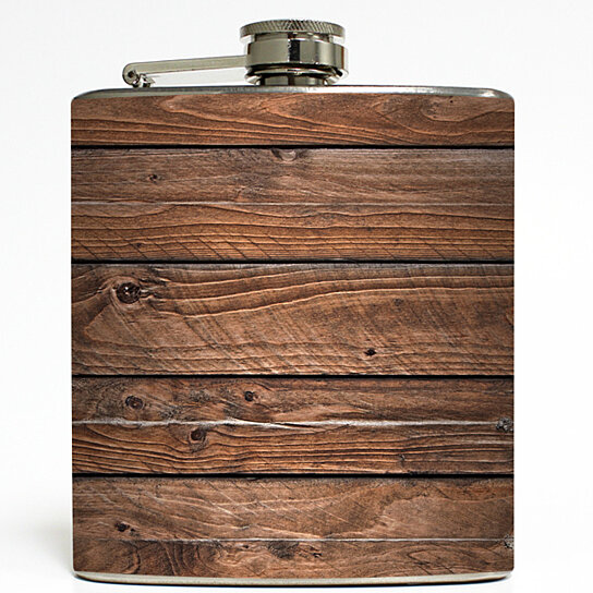 Buy Dismantled Barn Faux Wood Flask Distressed Brown Old