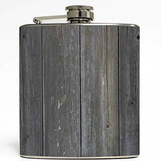 Buy old barn door faux reclaimed wood flask grey gray for Buy old barn wood