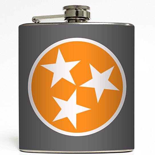 Vol Tristar - Tennessee State Flag Love TN Home Knoxville Volunteers UT  Vols Tristar Gift Stainless Steel 6 oz Liquor Hip Flask LC-1569