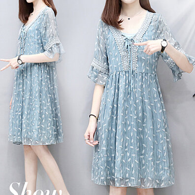090a522458b Chiffon printed maxi skirt 2019 new Short sleeve skirt 2-piece set
