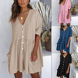 Button Down Summer Shift Dress with Pockets, XS-XL