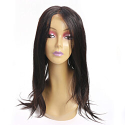 10-20 Inch Natural Black Straight Human Hair 360 Lace Frontal Wig Free Part