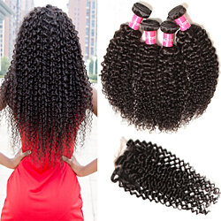 Natural Color Brazilian Virgin Curly Human Hair 4 Bundles with Lace Closure