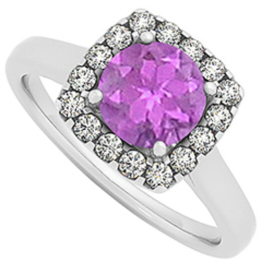 Buy Amethyst and CZ Halo Engagement Ring in 14K White Gold February Birthston