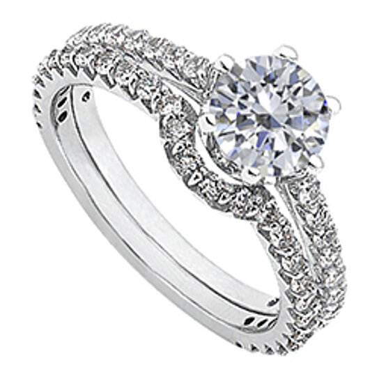 April Birthstone Solitaire Diamond Engagement Rings With Wedding Band