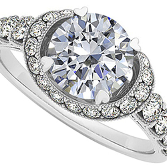 Buy Beautiful Cubic Zirconia Halo Ring in 14K White Gold with Amazing Design