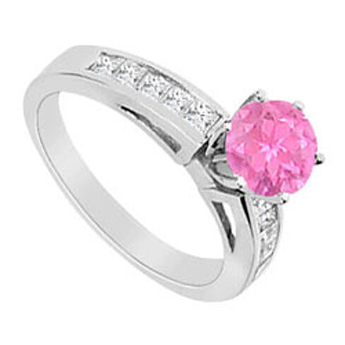created pink sapphire and cubic zirconia princess cut
