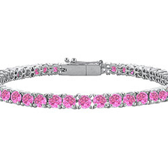 Buy Created Pink Sapphire Tennis Bracelet 14K White Gold ...