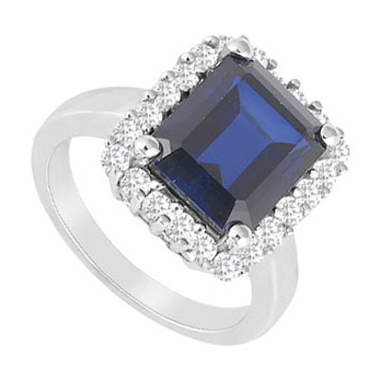 buy created sapphire and cubic zirconia ring 14k white