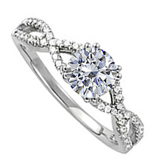 buy cubic zirconia criss cross shank engagement ring in
